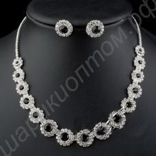 Комплект украшений (ожерелье, серьги) с крупными прозрачными и чёрными фианитами