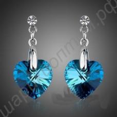 Серьги с голубыми сердечками-фианитами