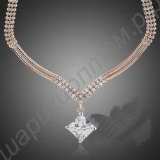 Умопомрачительное позолоченное свадебное ожерелье с прозрачными фианитами