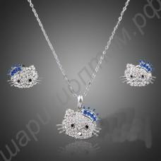 Комплект украшений в виде кисок из прозрачных и голубых фианитов