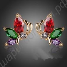 Серёжки позолоченные в виде бабочек с разноцветными фианитами