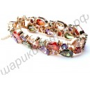 Ошеломительный позолоченный браслет с разноцветными фианитами Мона Лиза