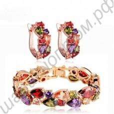 Набор украшений Мона Лиза (браслет и серьги из разноцветных фианитов)