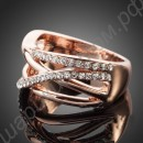 Кольцо широкое позолоченное с дорожками из фианитов
