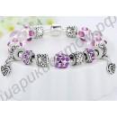 Фиолетовый браслет из муранского стекла с роскошными шармами