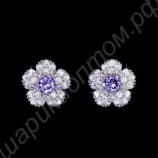 Серьги в виде цветочков вишни с фиолетовыми и прозрачными фианитами