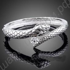 Шикарный браслет в виде змеи с крупным фианитом, покрытый платиной