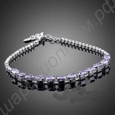 Изящный модный позолоченный браслетик с фиолетовыми фианитами