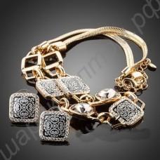 Сногсшибательный комплект украшений с фианитами (позолоченное ожерелье и серьги квадратной формы)