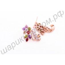 Необычайные позолоченные серьги в виде цветочков со стебельками из фианитов