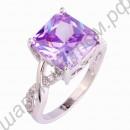 Кольцо позолоченное с крупным квадратным фиолетовым турмалином и дорожкой из белых топазов