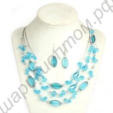Гарнитур (серьги + колье) Glass Beads & Natural Stone Holiday Styles