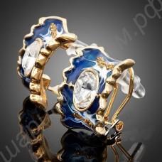 Синие позолоченные серьги с белыми фианитами