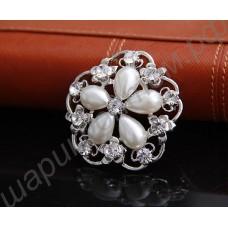 Брошь New Bridal Bridesmaid Rhinestone pearl flower