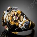 Кольцо позолоченное с чёрной эмалью и фианитами в центре цветочков