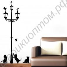 Стикеры на стену с кошками вокруг уличного фонаря