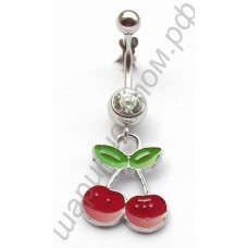 Кольцо в пупок cherry dangling belly ring body