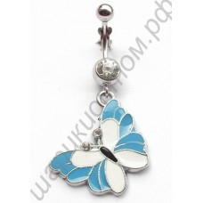 Кольцо в пупок dangling butterfly belly ring body