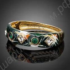 Зелёный браслет с фианитами, покрытый эмалью и 18К золотом