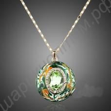 Подвеска-медальон зелёная с фианитами, позолоченная, с цепочкой