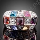 Позолоченное кольцо с разноцветными фианитами в квадратных секциях