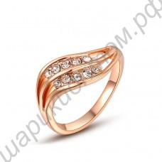 Позолоченное кольцо с двумя дорожками прозрачных фианитов