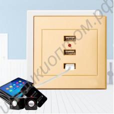 Встраиваемая в стену USB розетка с тремя гнёздами для зарядки смартфонов, планшетов и прочей бытовой техники