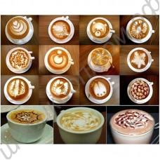 Трафареты (рисунки) на кофейную пенку (комплект, 16 шт.)