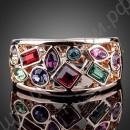 Кольцо позолоченное с разноцветными камнями