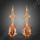 Каплевидные позолоченные серьги янтарного цвета