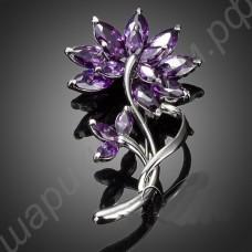 Элегантная фиолетовая брошь в виде цветочка из фианитов