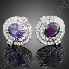 Роскошные овальные серьги с крупным фиолетовым камнем и прозрачными фианитами по кругу