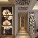 Картина из трёх модулей «Бежевые хризантемы», холст