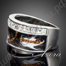 Шикарное кольцо с чёрной эмалью и белыми камушками