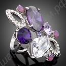 Замечательное позолоченное кольцо с фиолетовыми камнями разных оттенков