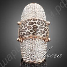Изумительное крупное позолоченное кольцо с россыпью прозрачных камней