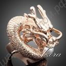 Шедевральное позолоченное кольцо в виде дракона