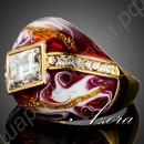 Изысканное позолоченное кольцо, покрытое красной эмалью и украшенное сверкающими камушками