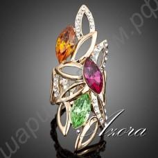 Великолепное позолоченное кольцо с разноцветными крупными ромбовидными фианитами