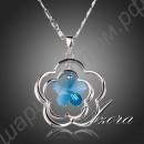 Великолепная подвеска с голубым кристаллом в виде цветка