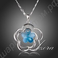 Великолепная подвеска с голубым кристаллом в виде цветка, с цепочкой