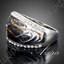 Удивительное кольцо с эмалью и прозрачными кристаллами