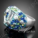 Чудесное голубое кольцо с белыми, синими и зелёными кристаллами