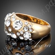 Красивое модное позолоченное кольцо с прозрачными кристаллами