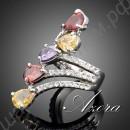 Бесподобное кольцо с жёлтыми, красными, фиолетовыми и белыми камнями