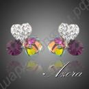 Потрясающие серьги с белыми сердечками и двумя разноцветными кристаллами