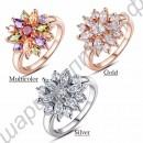 Обольстительное позолоченное кольцо с массой красивых камушков