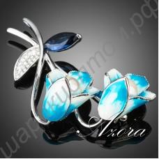 Отменная брошь с эмалевыми голубыми цветочками колокольчиками, окантованными мелкими камушками