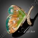 Бесподобная брошь в виде крыла бабочки, покрытого эмалью и усыпанного камнями