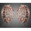 Высококачественные позолоченные серьги с камнями и полоской леопардовой расцветки
